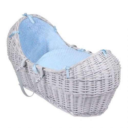 Wicker Noah Pod In White With Blue Dimple Liner